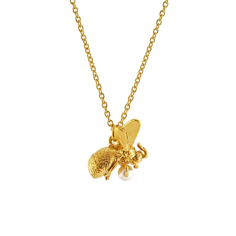 Alex Monroe Gold Flying Bee with Pearl Necklace | GN10P/GP