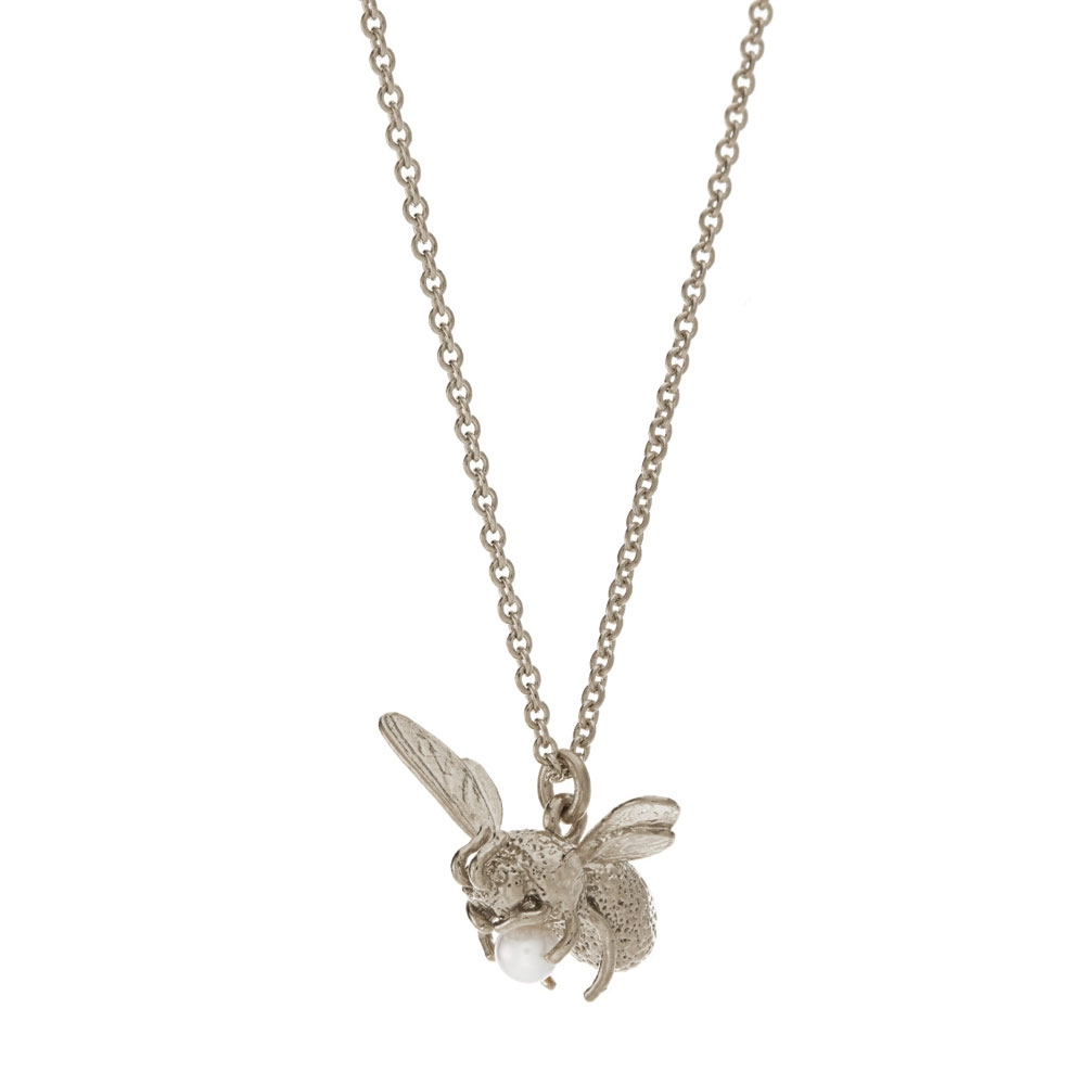 Alex Monroe Silver Flying Bee with Pearl Necklace | GN10P/S