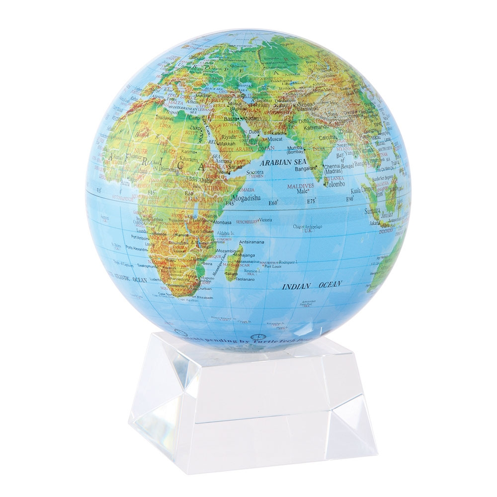 Mova Globe 4 5 Quot Rotating Globe Mg 45 Bge Blue With Relief Map Gloss Finish
