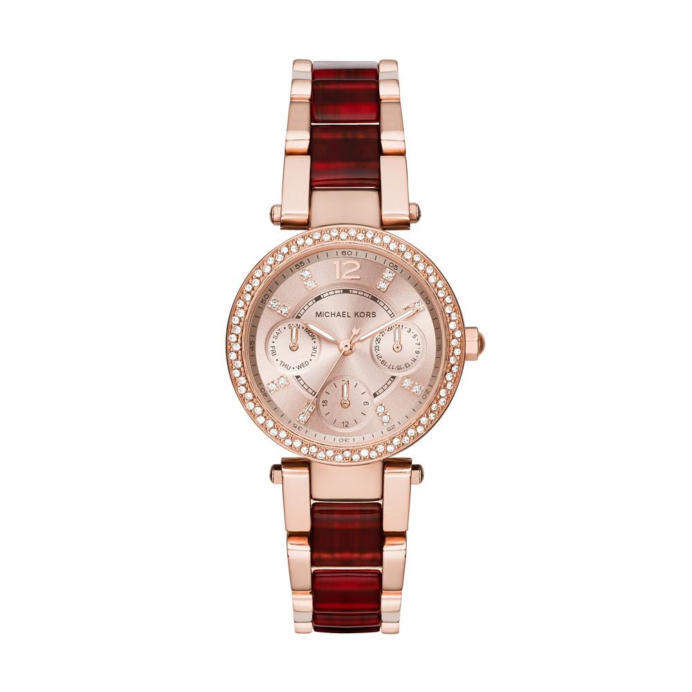 ... Kors Parker Chronograph Red Bracelet Rose Gold Ladies Watch | MK6239