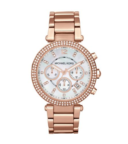 Michael Kors Parker Black Crystal Pave Bracelet Chronograph Rose Gold Ladies' Watch | MK5491