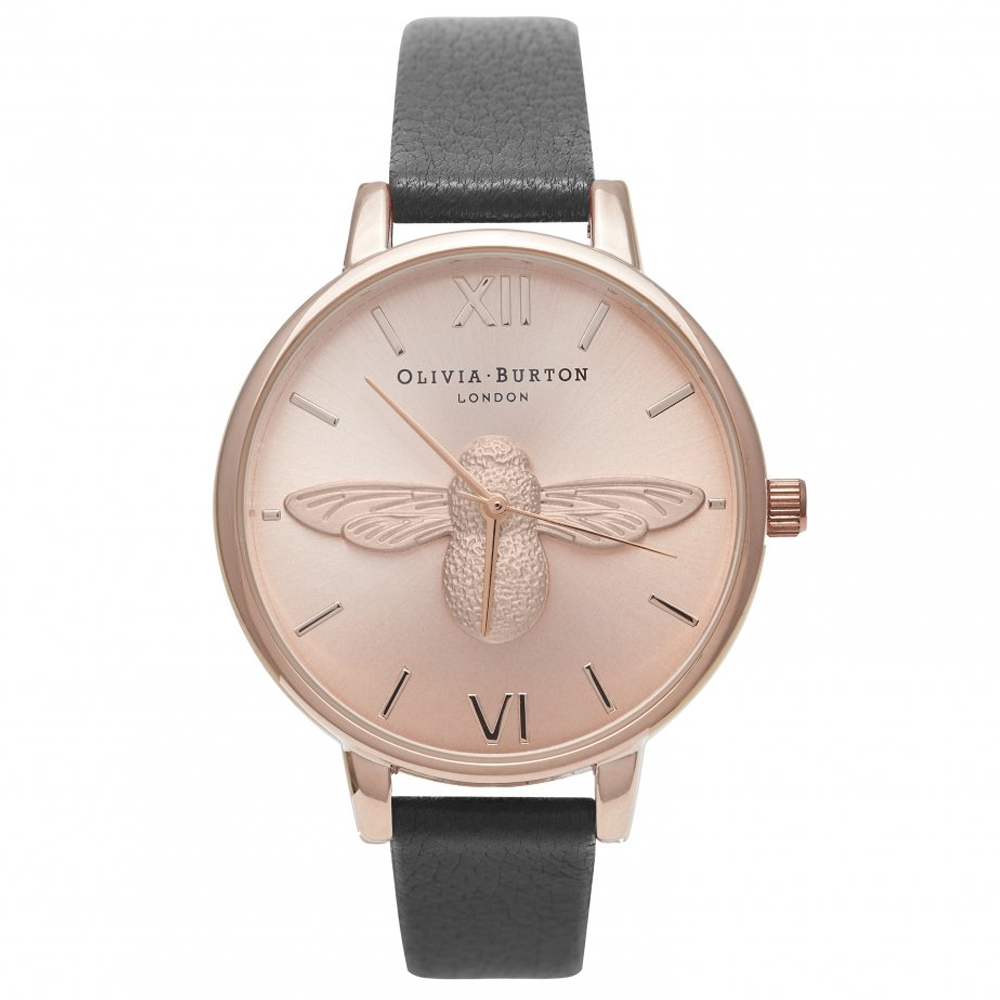 Olivia Burton Animal Motif Moulded Bee Black & Rose Gold Watch | OB14AM58