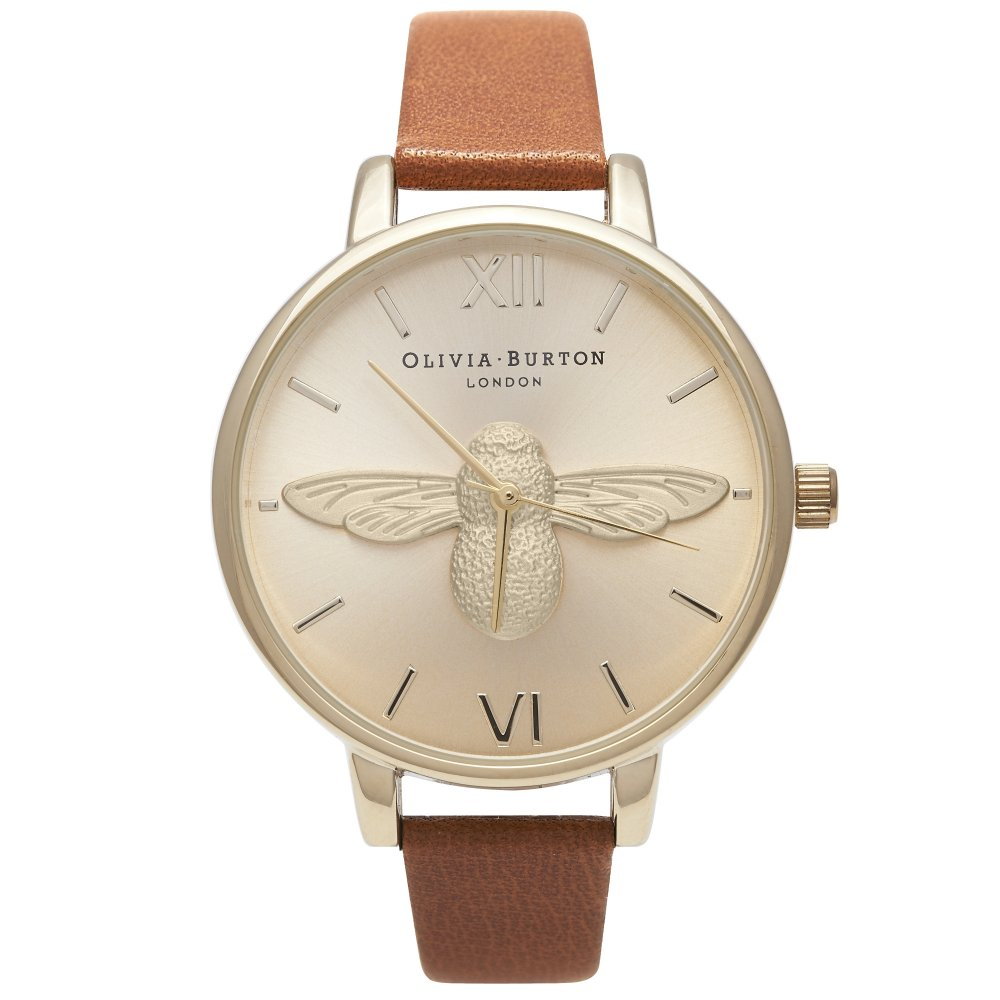 Olivia Burton Animal Motif Moulded Bee Tan & Gold Watch | OB15AM54