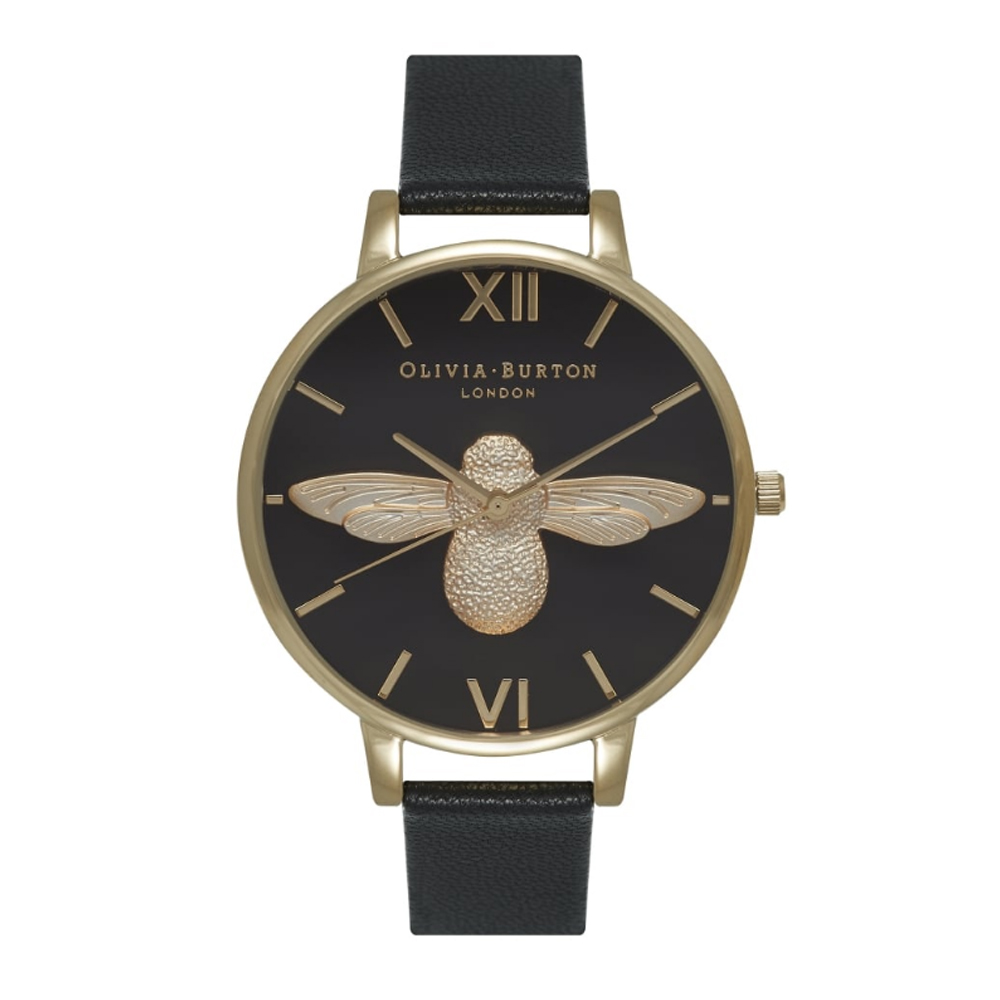 Olivia Burton Animal Motif Bee Black Dial & Gold Watch | OB15AM64