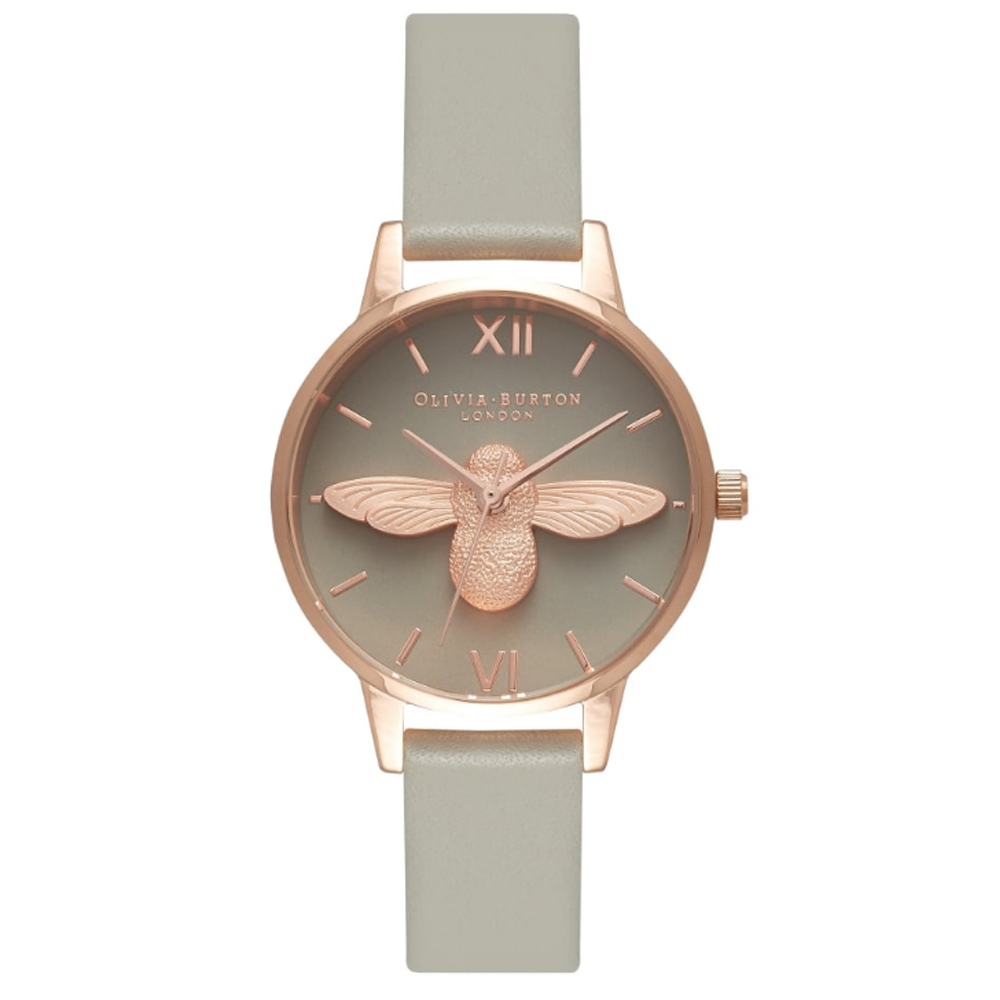 Olivia Burton Animal Motif Grey Dial Midi Moulded Bee Watch | OB15AM77