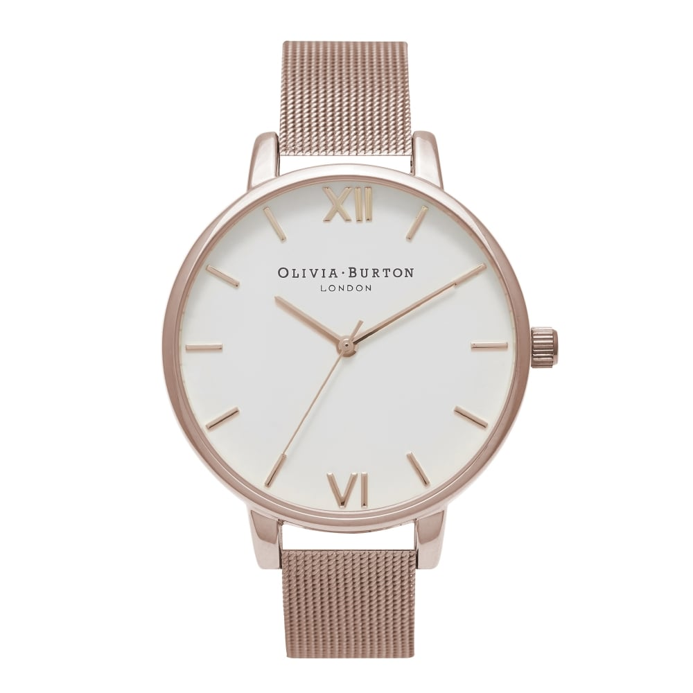 Olivia Burton Big White Dial Rose Gold Mesh Watch | OB15BD79
