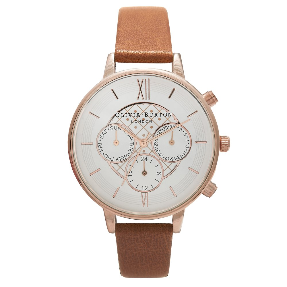 Olivia Burton Chrono Detail Tan & Rose Gold Watch | OB15CG68