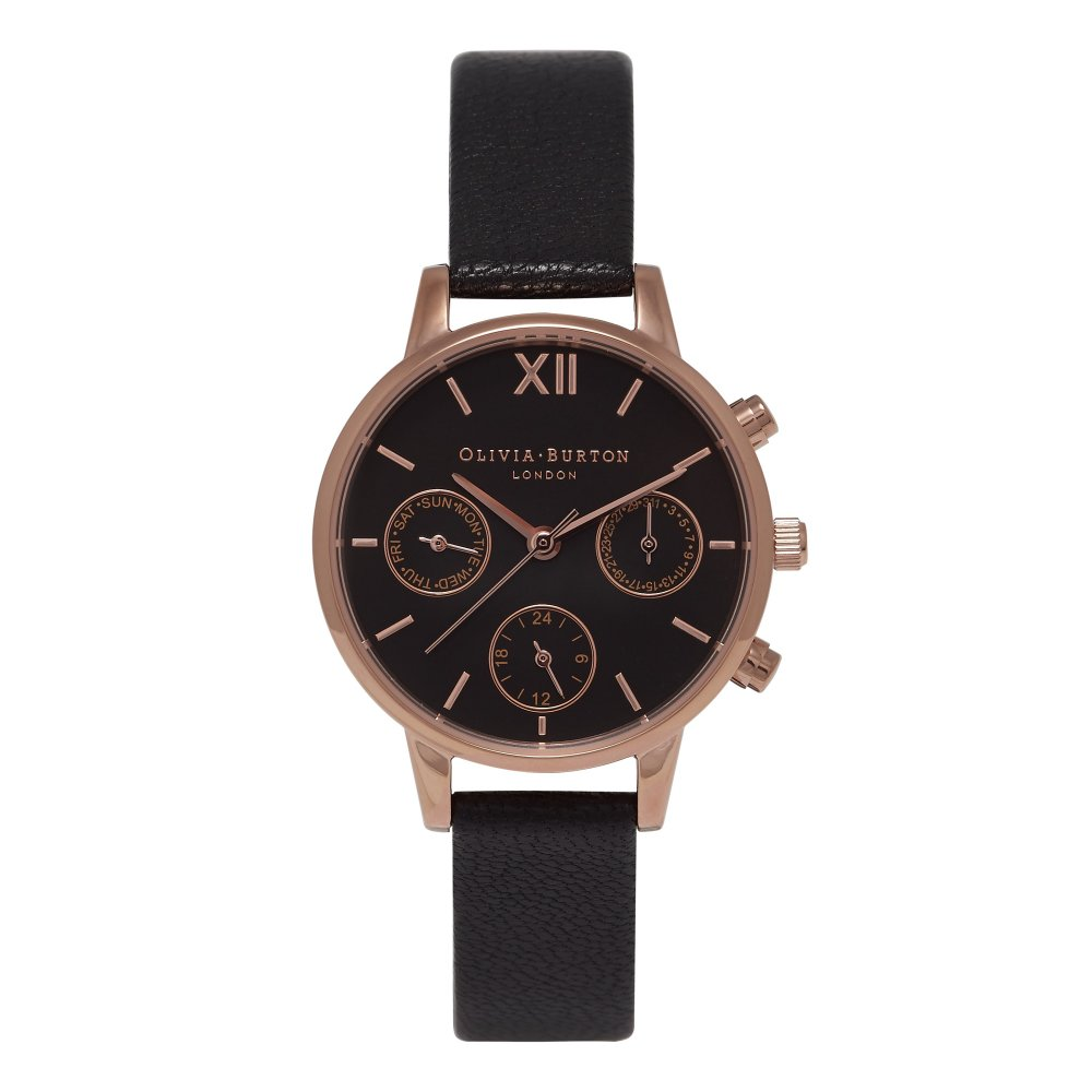 Olivia Burton Midi Dial Chrono Detail Black Dial & Rose Gold Watch | OB15CGM58