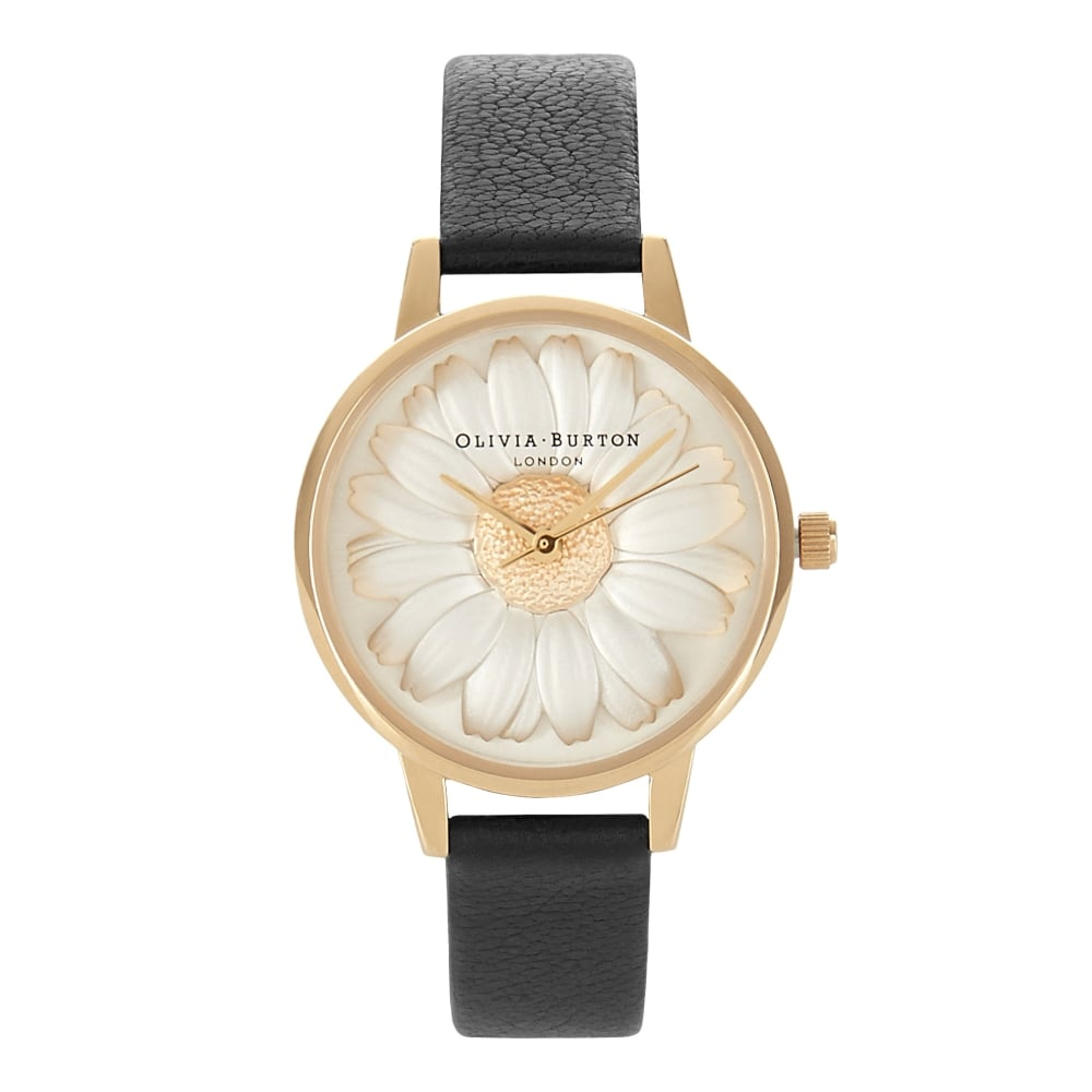 Olivia Burton Flower Show 3D Daisy Black & Gold Watch | OB15EG38