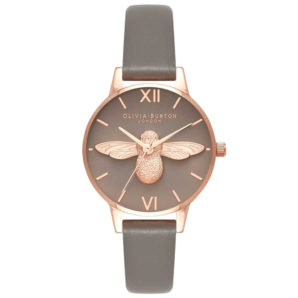 Olivia Burton 3D Bee London Grey & Rose Gold Watch