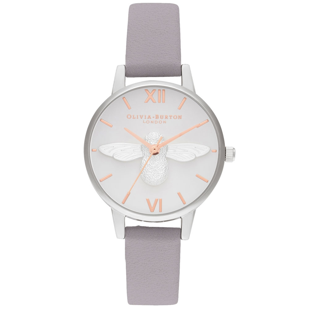 Olivia Burton 3D Bee Midi Dial Grey Lilac Rose Gold & Silver Watch