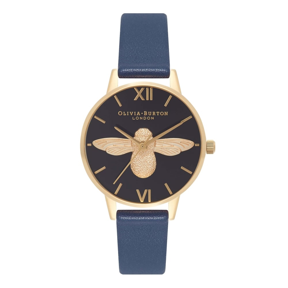 Olivia Burton Animal Motif Moulded Bee Navy & Gold Watch | OB16AM81