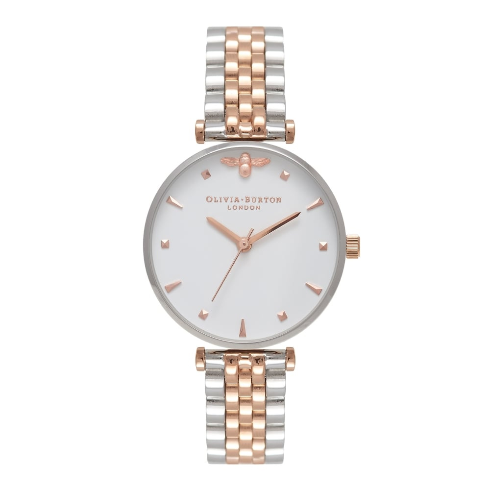 Olivia Burton Mini Moulded Bee Silver & Rose Gold Mix T-Bar Bracelet Watch | OB16AM93