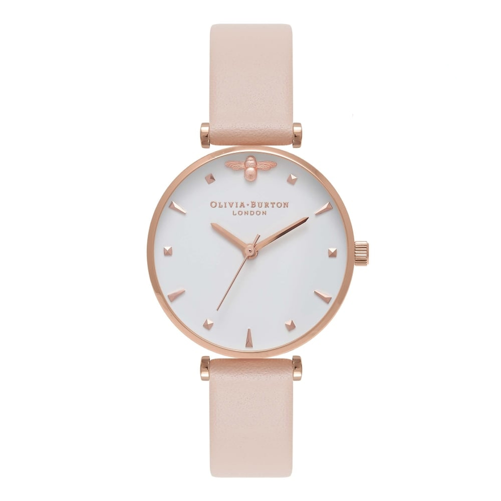 Olivia Burton Mini Moulded Bee Nude Peach & Rose Gold T-Bar Watch | OB16AM95