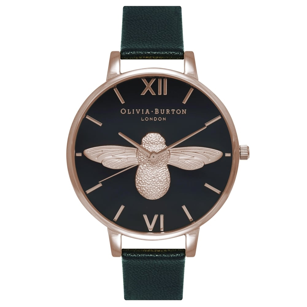 Olivia Burton Animal Motif Bee Black & Rose Gold Watch | OB16AM98