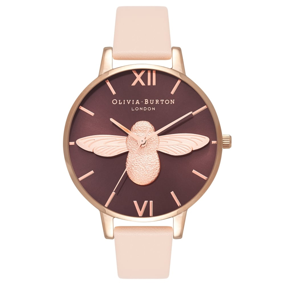 Olivia Burton Animal Motif Bee Nude Peach & Rose Gold Watch | OB16AM99