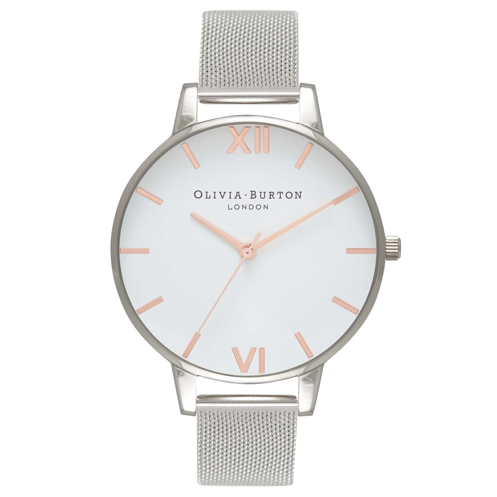 Olivia Burton White Dial Rose Gold & Silver Mesh Watch | OB16BD97