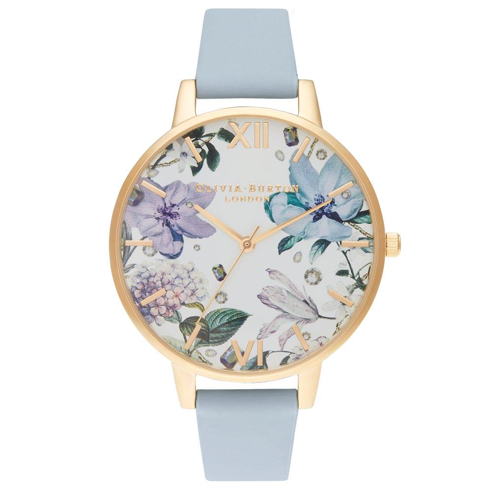 Olivia Burton Bejewelled Florals Big Dial Chalk Blue & Gold Watch