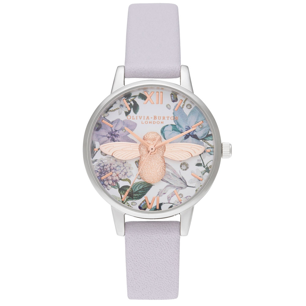 Olivia Burton Bejewelled Florals Midi 3D Bee Parma Violet, Rose Gold & Silver Watch