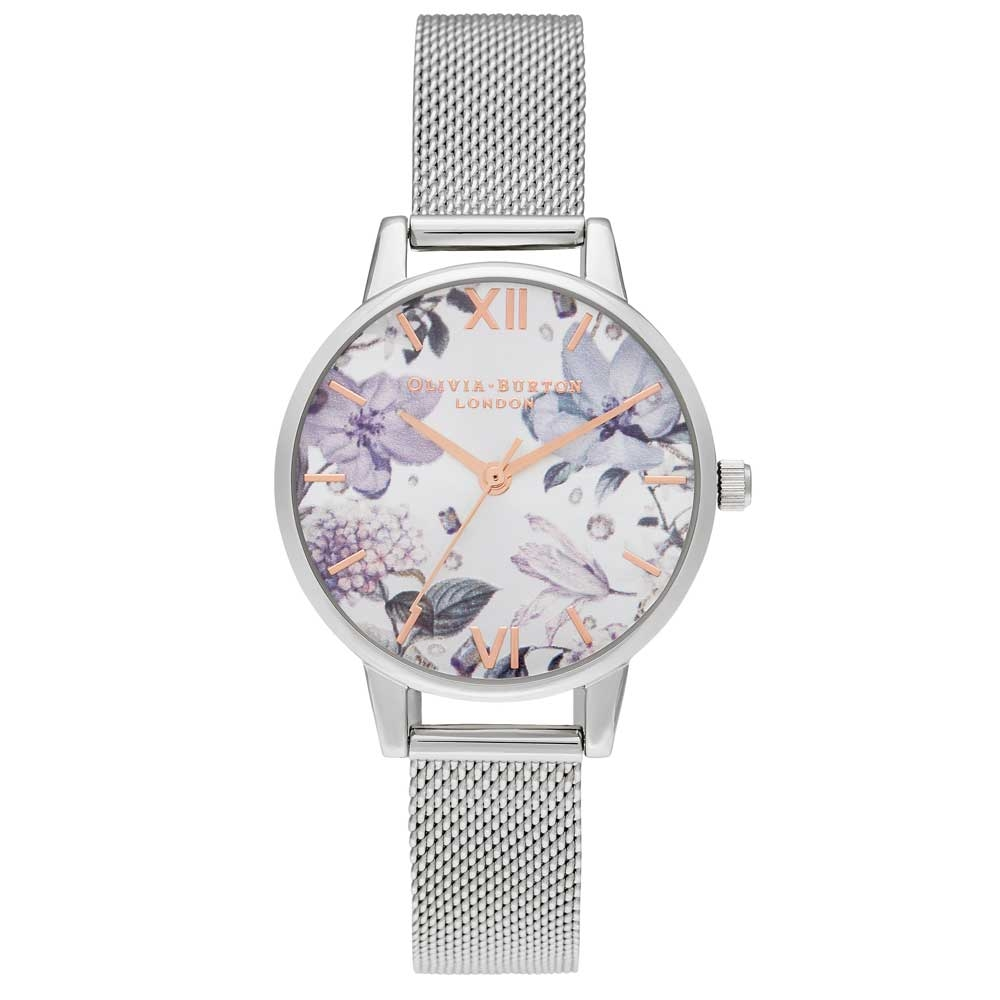 Olivia Burton Bejewelled Florals Midi Silver & Rose Gold Mesh Watch
