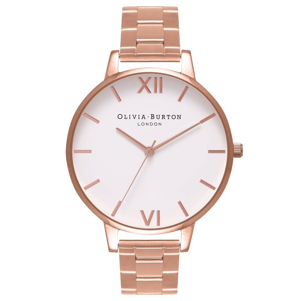 Olivia Burton Big Dial White Dial Rose Gold Bracelet Watch | OB16BL33