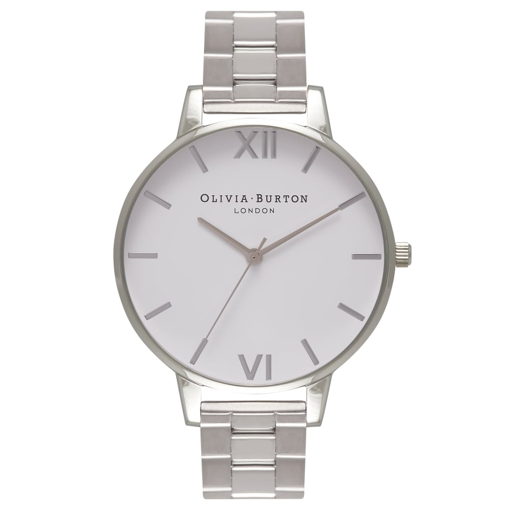 Olivia Burton Big Dial White Dial Silver Bracelet Watch | OB16BL34