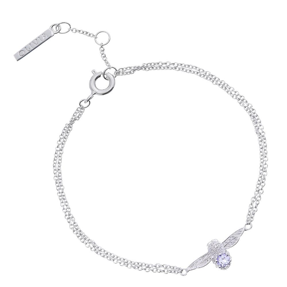 Olivia Burton 3D Bee Bejewelled Silver & Tanzanite Gemstone Chain Bracelet