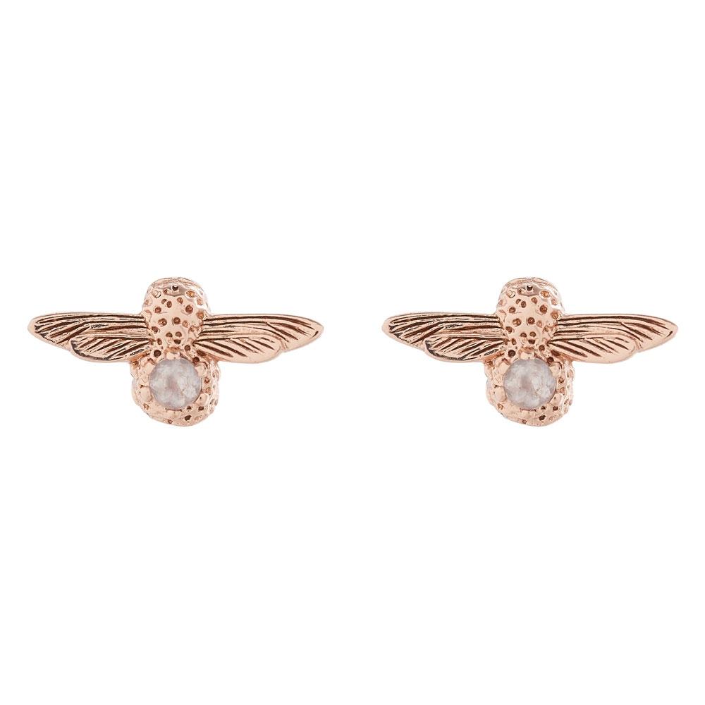 Olivia Burton 3D Bee Rose Gold & Rose Quartz Gemstone Stud Earrings