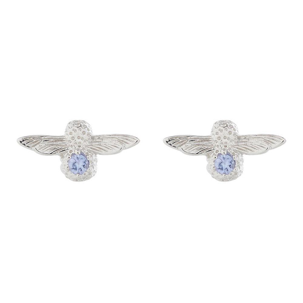 Olivia Burton 3D Bee Silver & Tanzanite Gemstone Stud Earrings