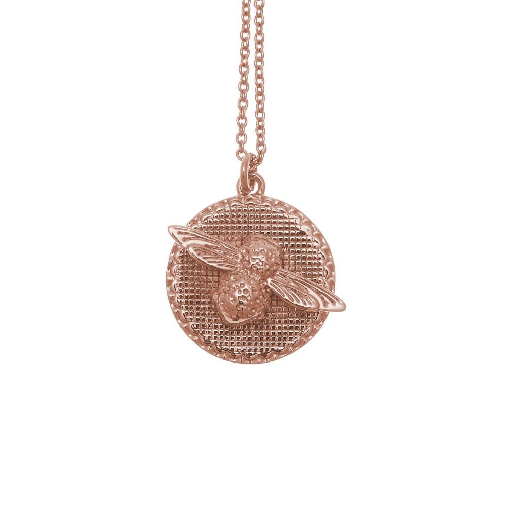 Olivia Burton 3D Bee Disc Rose Gold Necklace