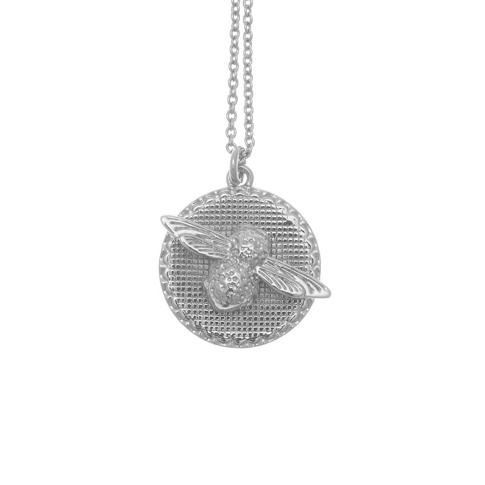 Olivia Burton 3D Bee Disc Silver Necklace