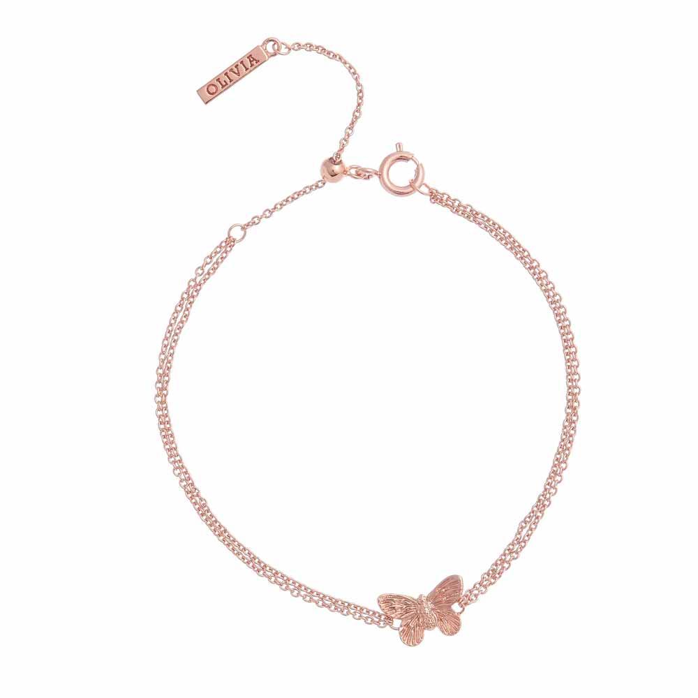 Olivia Burton 3D Butterfly Bracelet, Rose Gold