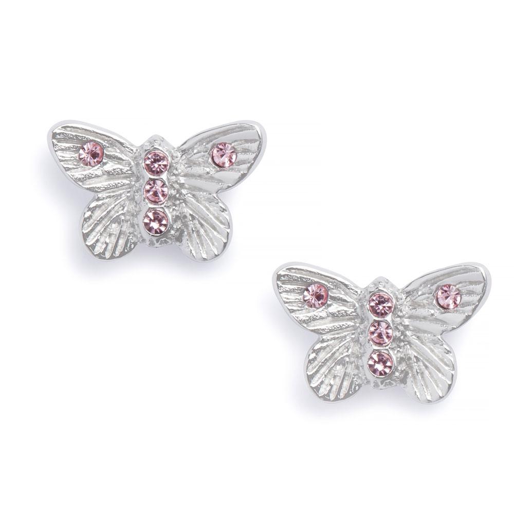 Olivia Burton Bejewelled Butterfly Silver & Pink Earrings