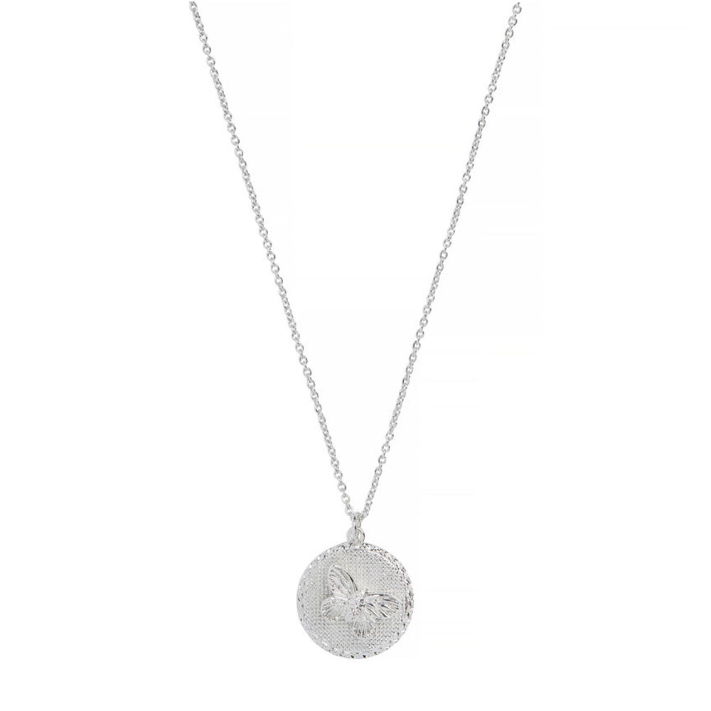 Olivia Burton 3D Butterfly Disc Silver Necklace
