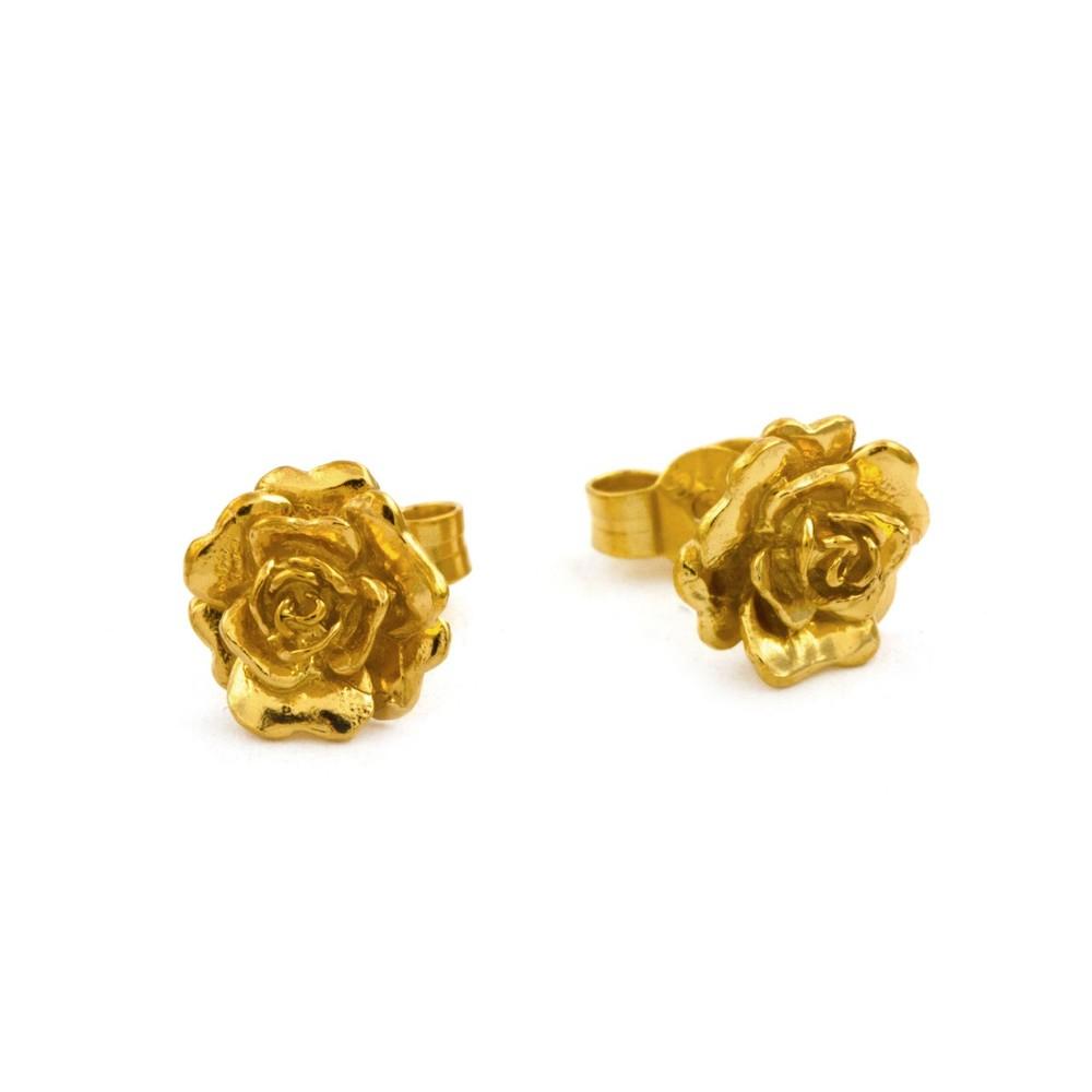 Alex Monroe Rosa Damasca Stud Gold Earrings | RDE2/GP