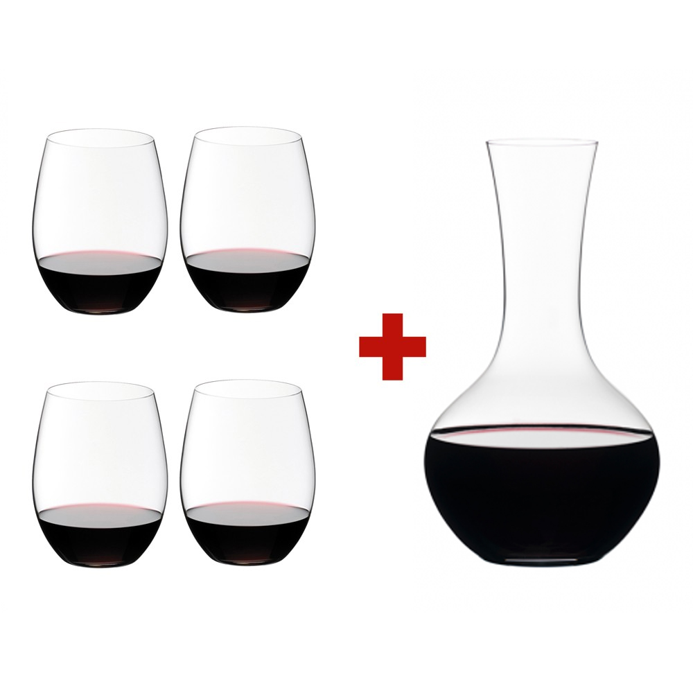 Riedel O Stemless Cabernet  Merlot Glasses (Set of 4) & Free Gift Syrah Decanter | 541430