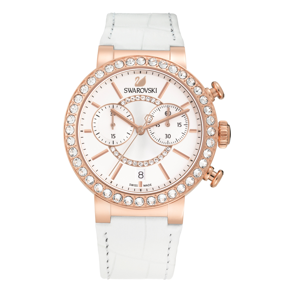 Swarovski Citra Sphere Chrono White & Rose Gold Watch | 5080602