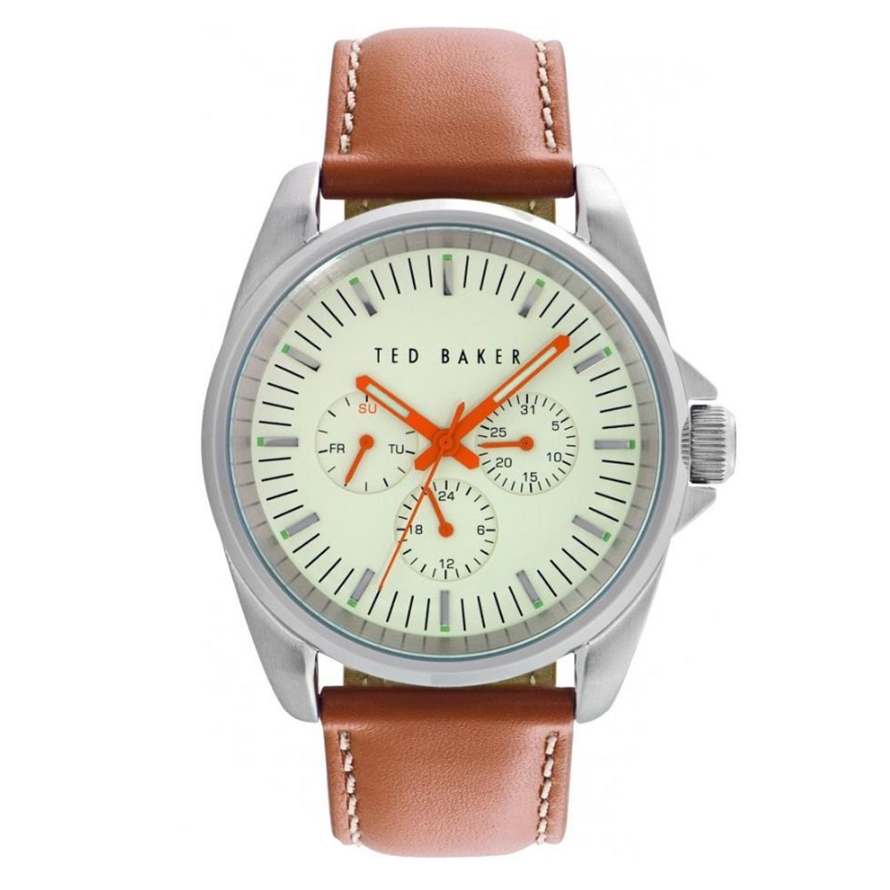 Ted Baker Mens Cream Dial Brown Leather Strap Watch | TE10025261