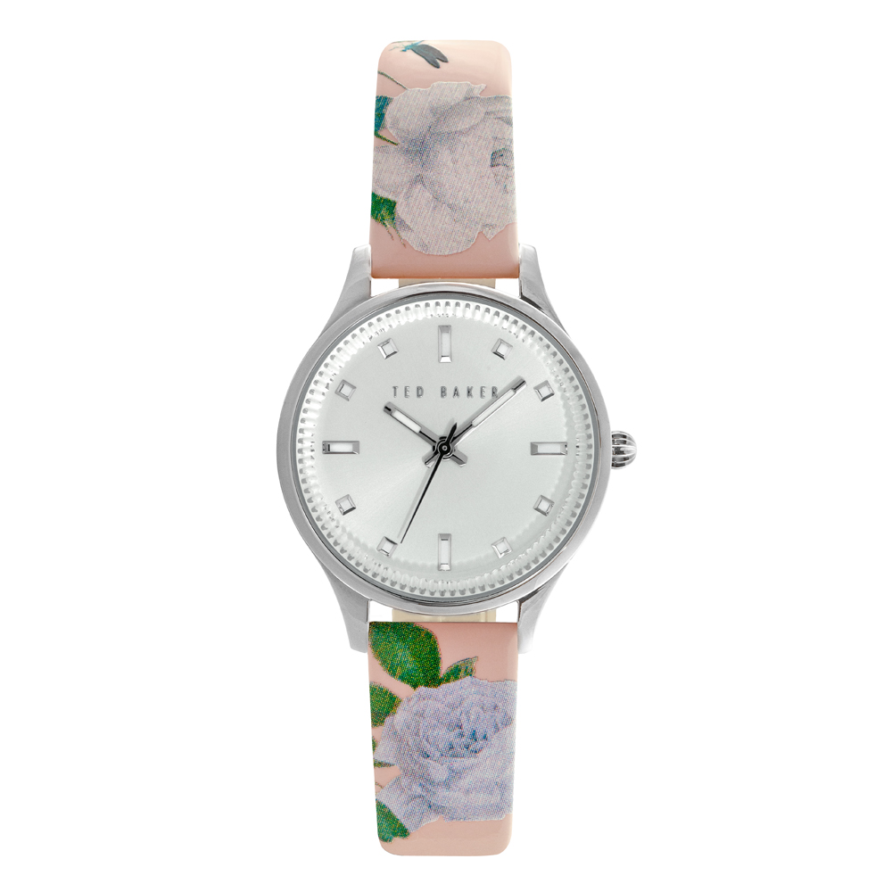 Ted Baker Ladies' Floral Leather Strap Silver Tone Watch | TE10025271