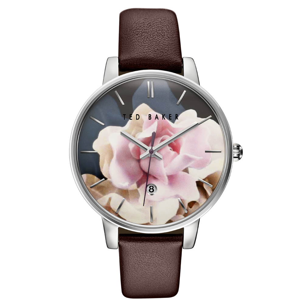 Ted Baker Ladies' Floral Dial Brown Leather Strap Watch | TE10030692