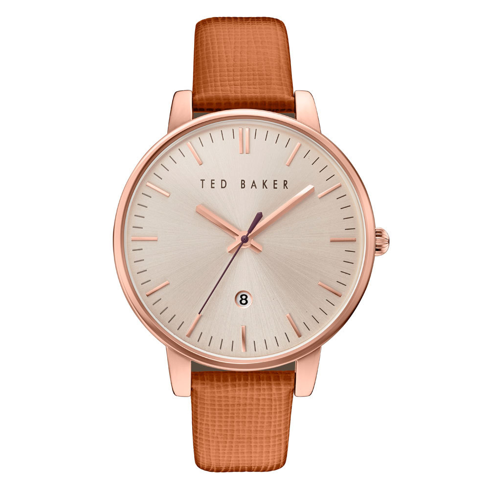 Ted Baker Ladies' Rose Gold Tone Brown Strap Watch | TE10030738