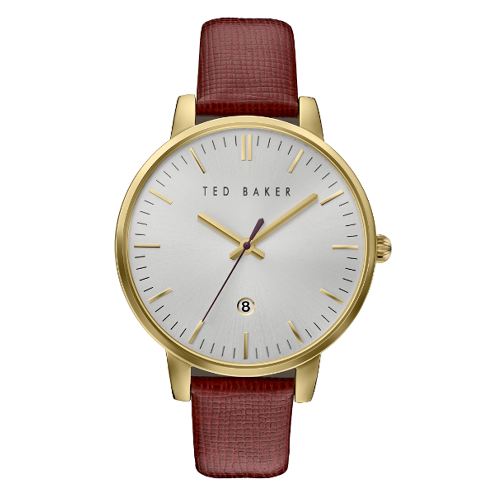 Ted Baker Ladies' White Dial Burgundy Leather Strap Watch | TE10030739