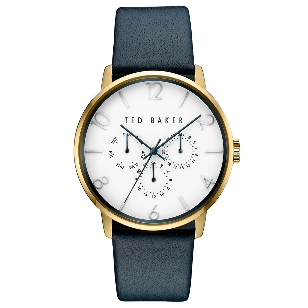 Ted Baker Men's White Dial Blue Leather Strap Watch | TE10030764