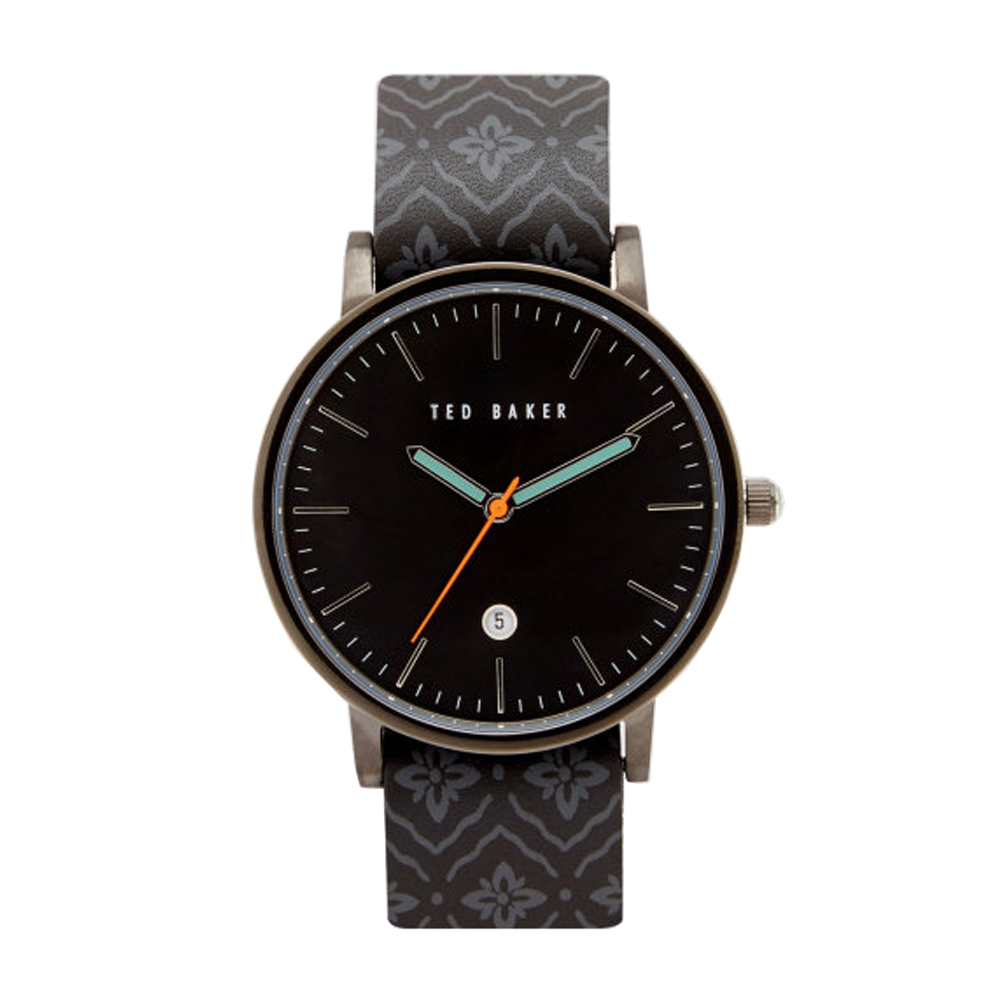 Ted Baker Mens Black Dial Brown Pattern Leather Strap Watch | TE10030768