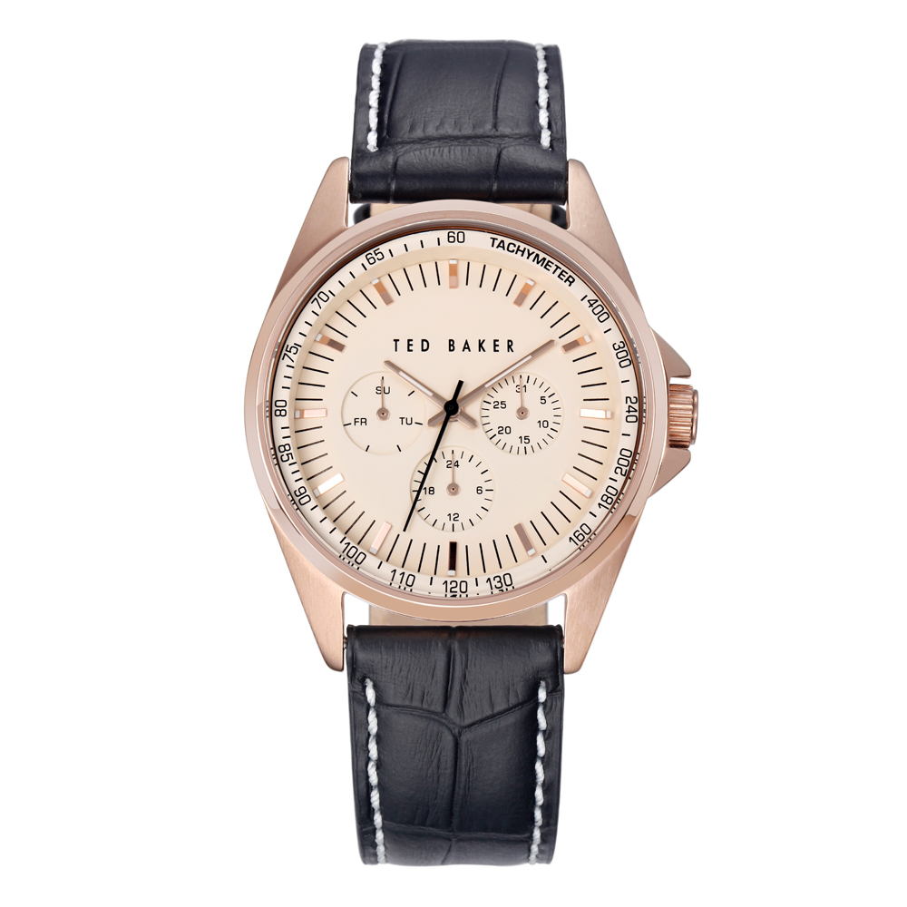 Ted Baker Mens Black Leather Strap Rose Gold Watch | TE1115