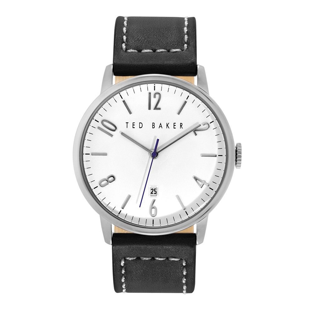 Ted Baker Mens Black Leather Strap Silver Watch | TE1120
