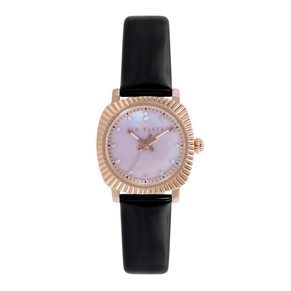 Ted Baker Ladies' Black Leather Strap Rose Gold Watch | TE2120