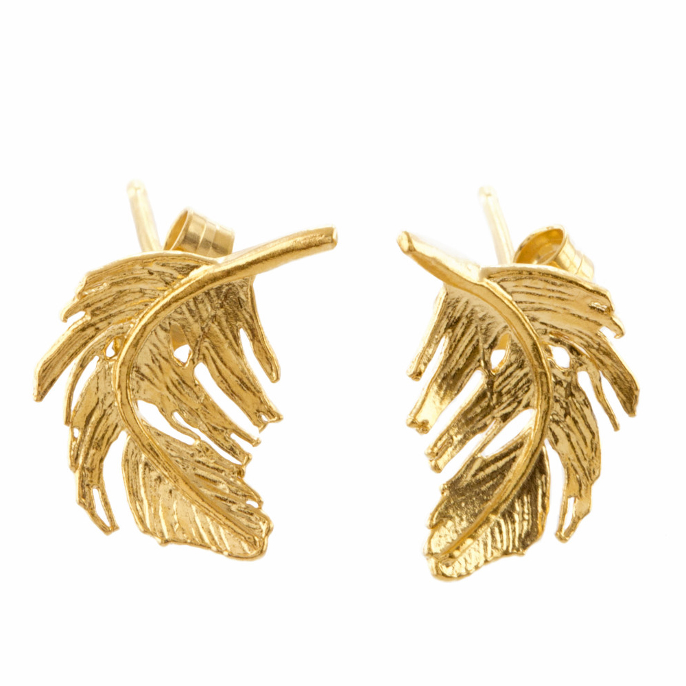 Alex Monroe Little Feather Stud Gold Plate Earrings | TFE5/GP
