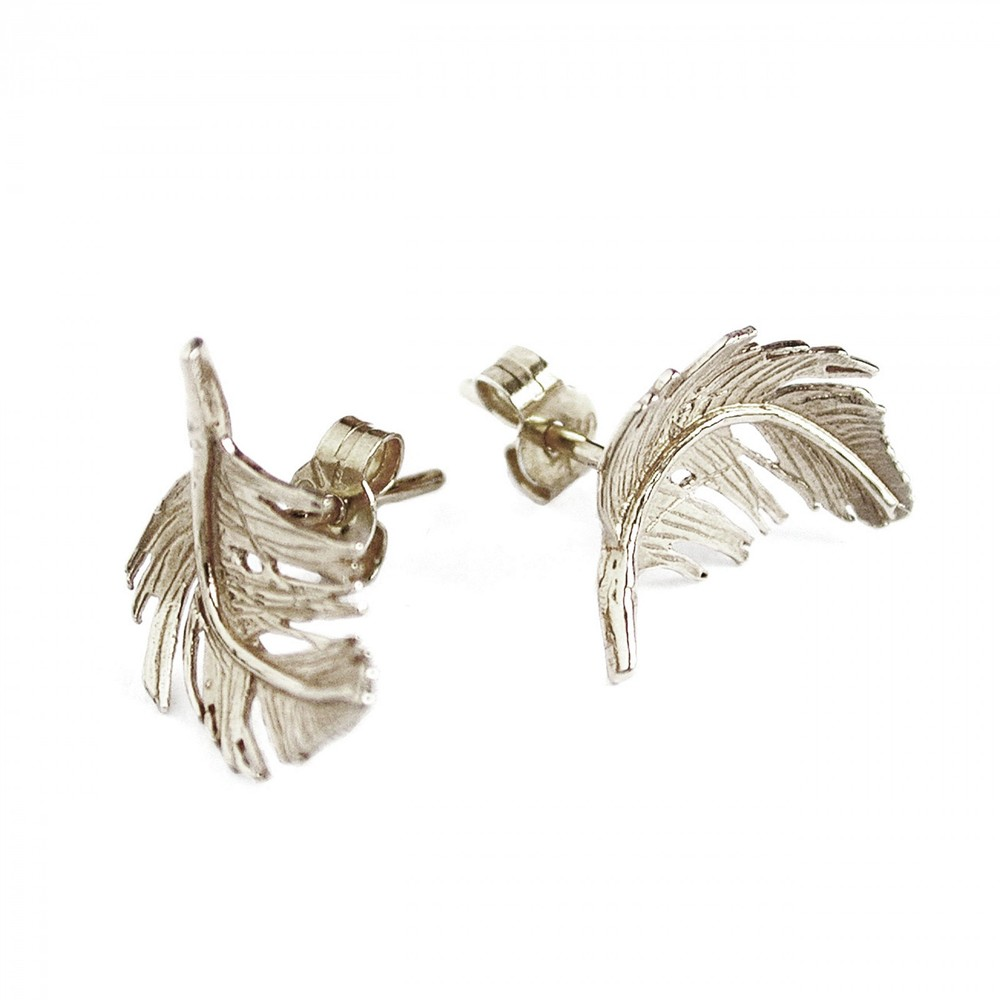 Alex Monroe Little Feather Stud Silver Earrings | TFE5/S