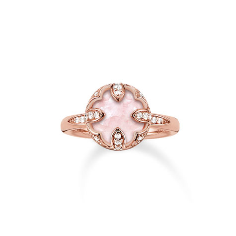 Thomas Sabo Glam & Soul Pink & Rose Gold Petal Ring, Size 56 | TR2027-537-9-56